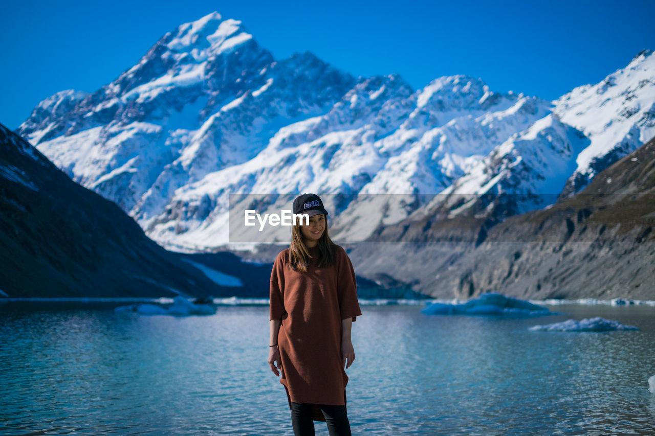 Young girl and lake