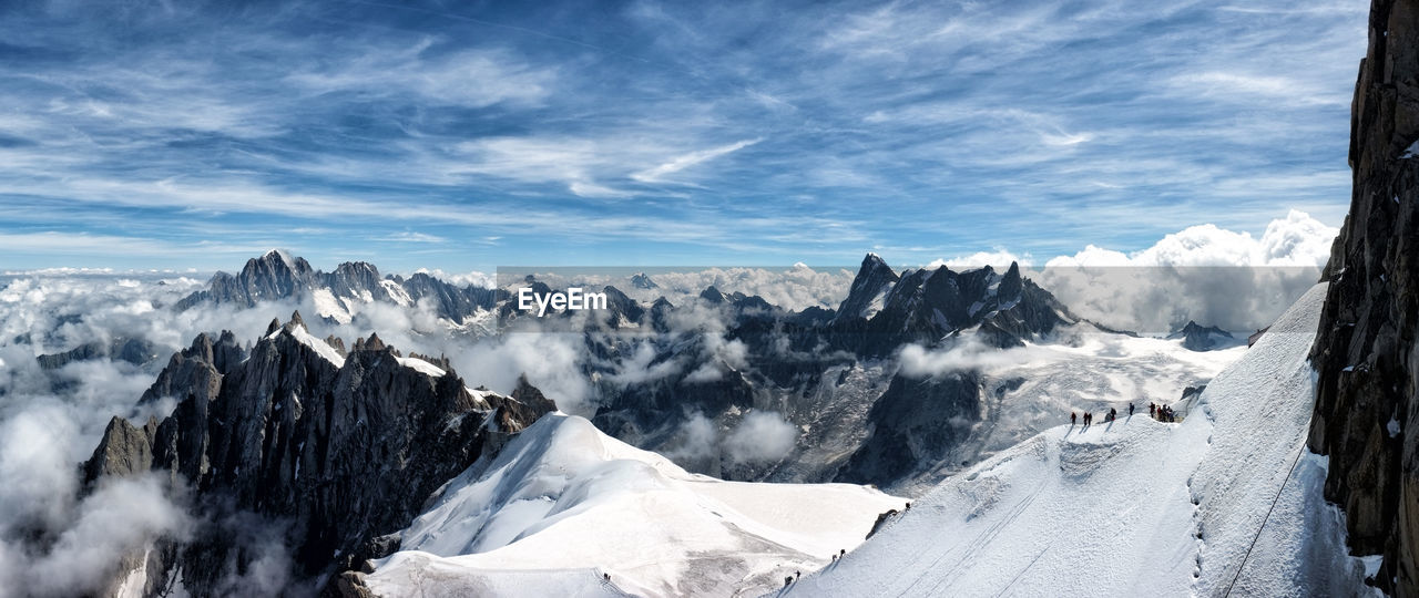 mountain, cold temperature, snow, winter, beauty in nature, sky, scenics - nature, cloud - sky, tranquil scene, environment, mountain range, nature, landscape, tranquility, non-urban scene, day, idyllic, white color, covering, snowcapped mountain, mountain peak, formation