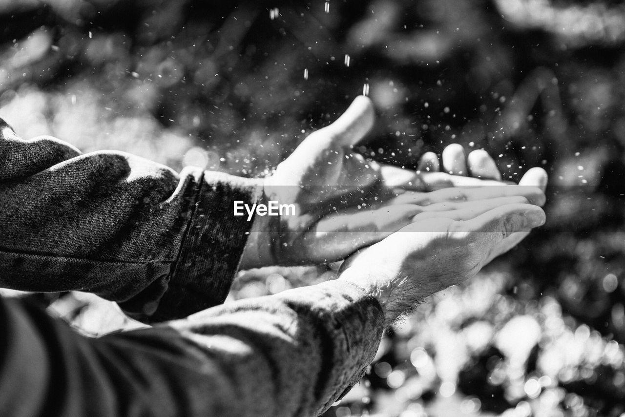 Splashing Water On Hands
