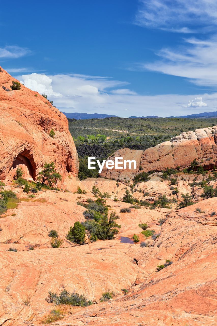 rock, sky, rock formation, rock - object, tranquil scene, non-urban scene, landscape, scenics - nature, environment, solid, beauty in nature, tranquility, geology, physical geography, nature, plant, day, no people, remote, cloud - sky, climate, arid climate, eroded, formation, sandstone, semi-arid