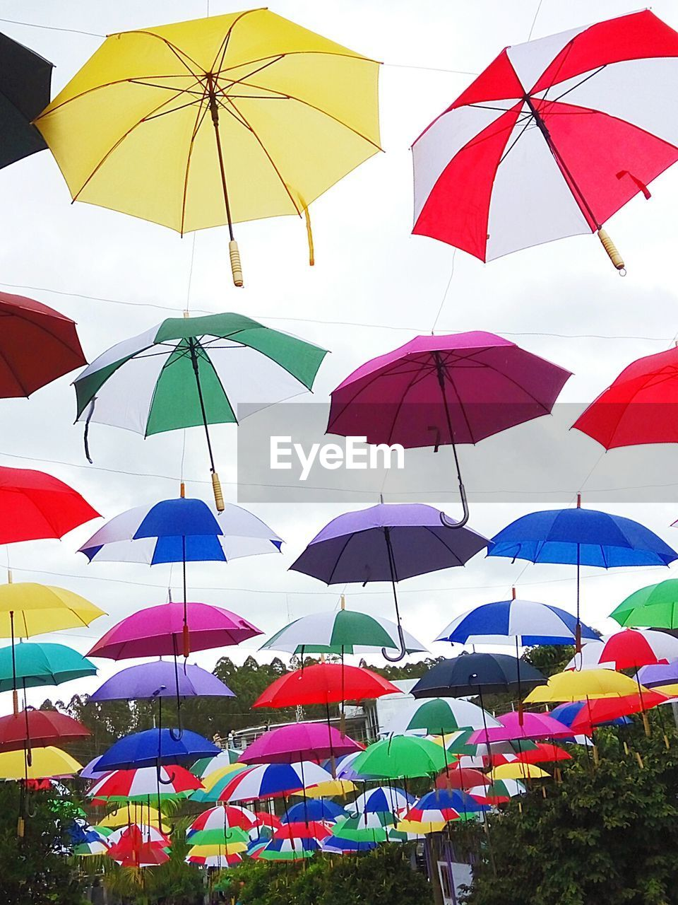 protection, umbrella, multi colored, security, low angle view, variation, choice, safety, day, no people, hanging, sky, parasol, nature, outdoors, large group of objects, in a row, sunlight, string