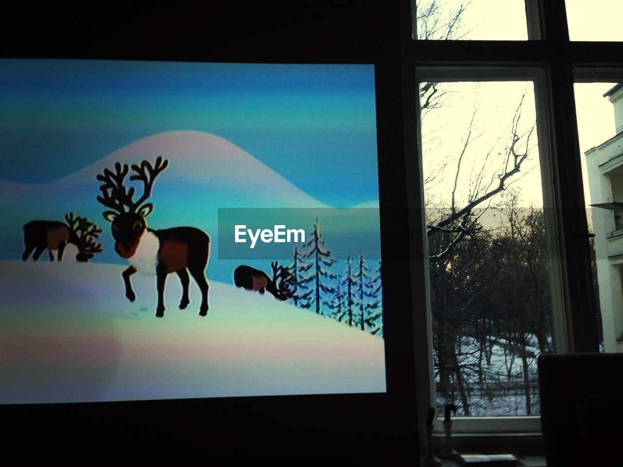animal representation, art and craft, deer, indoors, window, no people, silhouette, day, animal themes, reindeer, nature, sky, close-up