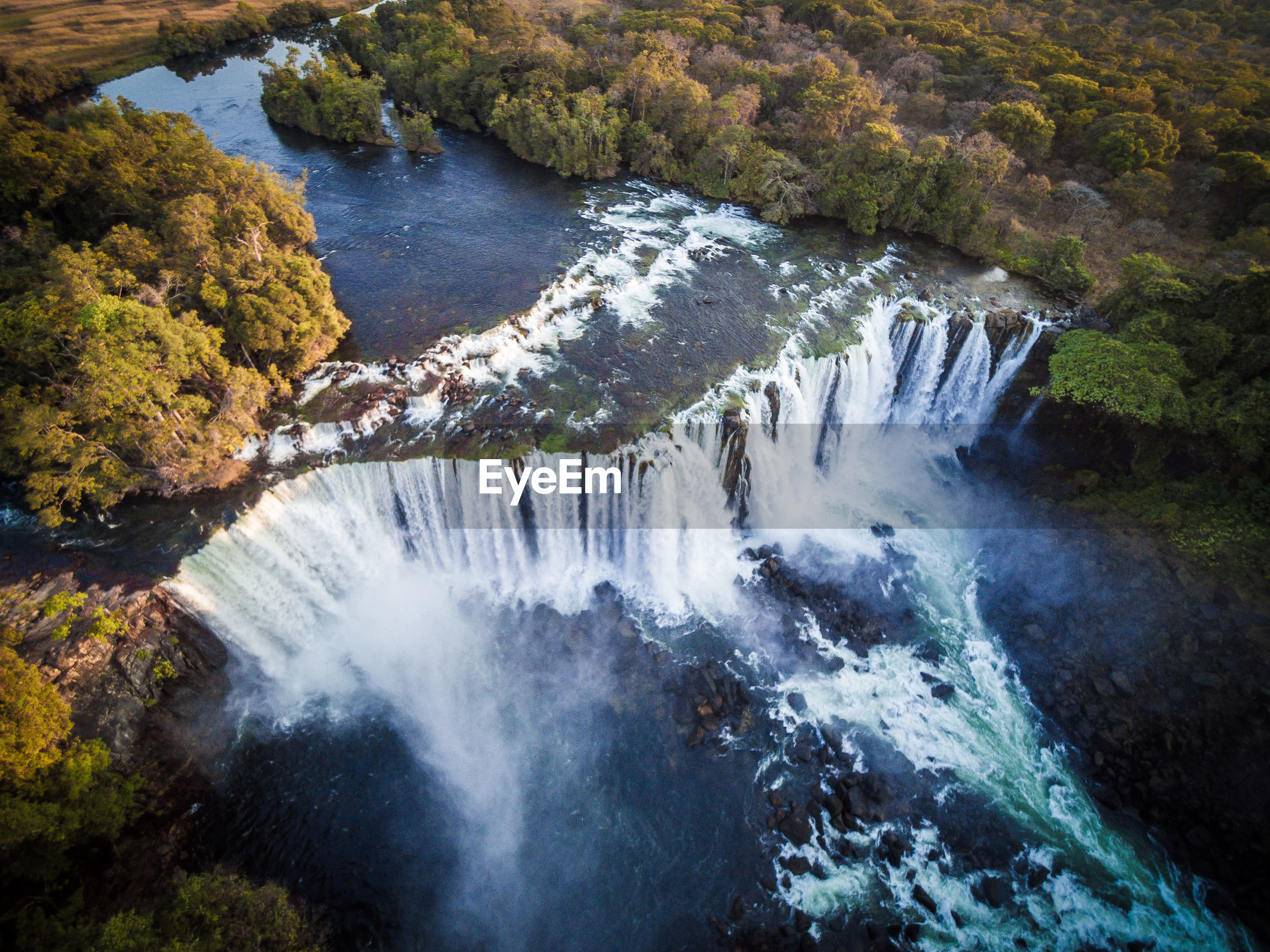 High angle view of lumangwe waterfall in forest, zambia
