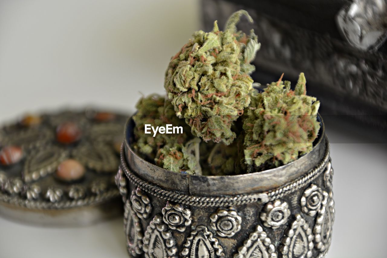 Close-Up Of Cannabis In Container On Table