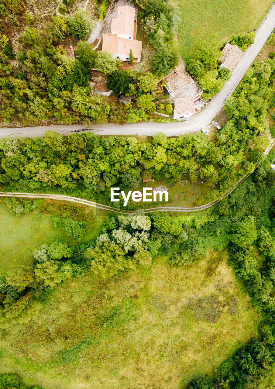 Aerial view of houses by green field