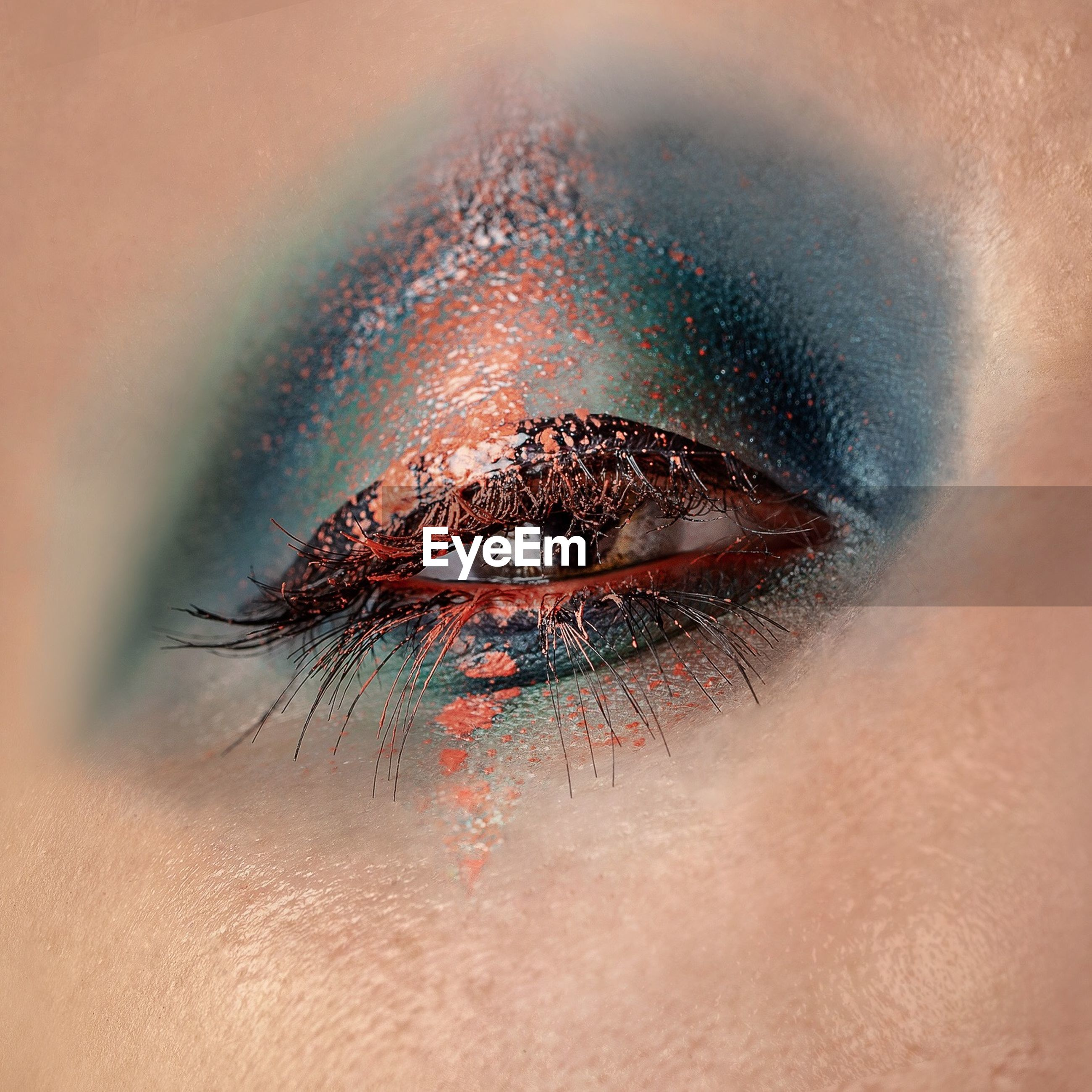 Extreme close-up portrait of woman eye with make-up