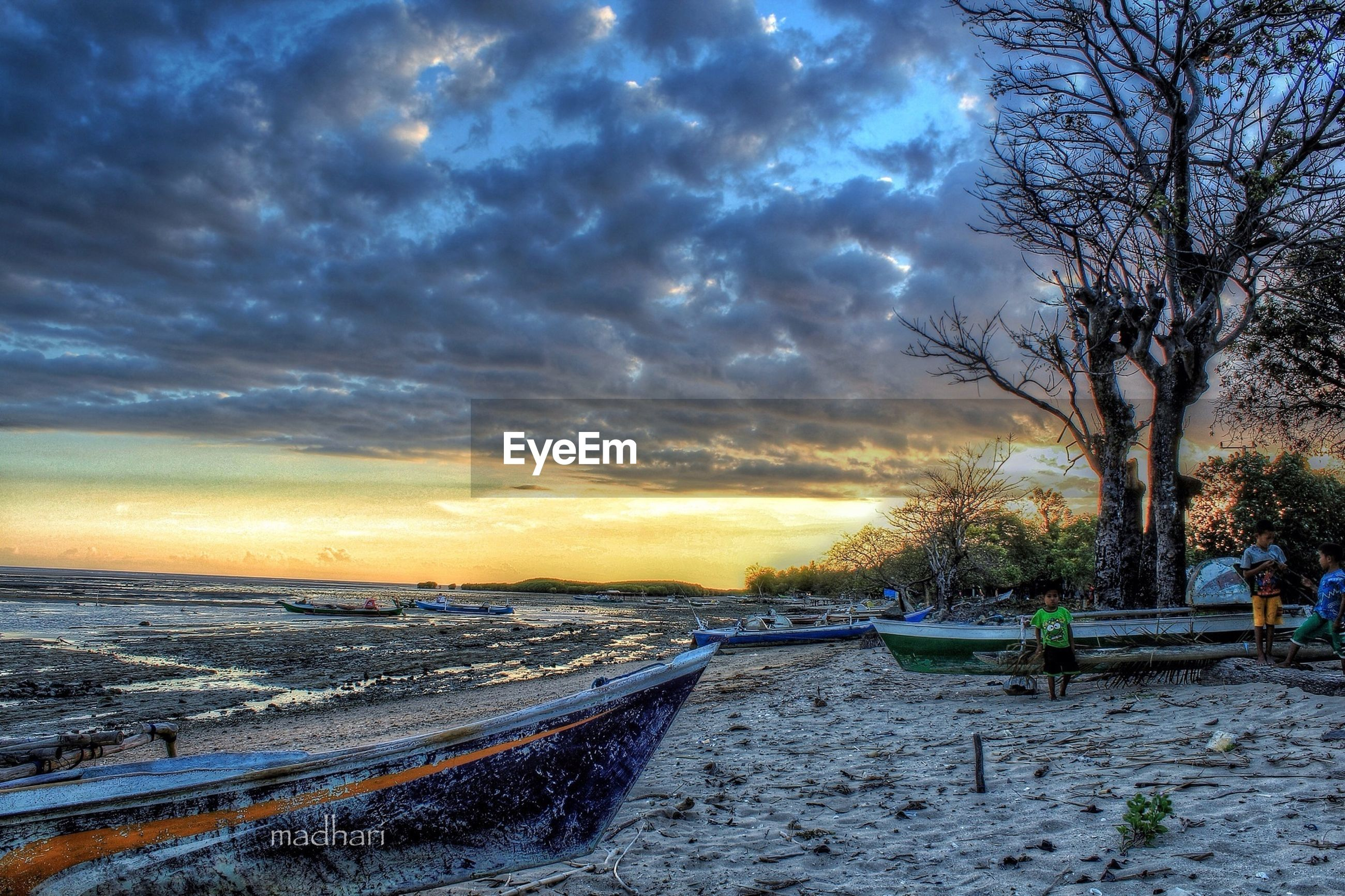 sky, cloud - sky, tranquil scene, tranquility, water, scenics, sunset, beauty in nature, cloudy, tree, beach, sea, nature, cloud, dramatic sky, horizon over water, weather, shore, idyllic, the way forward
