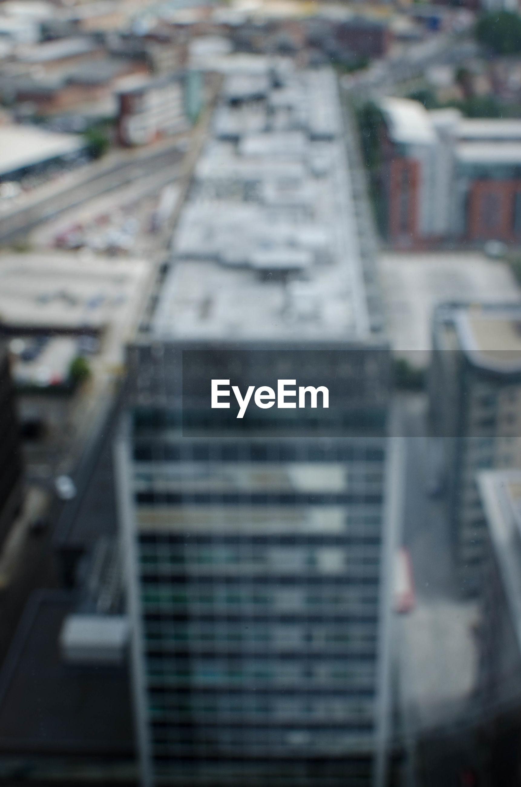 Defocused image of buildings in city