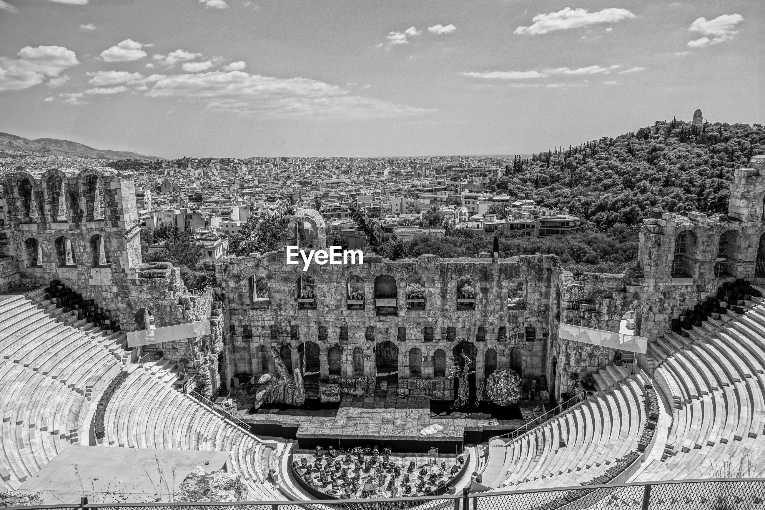 Odeon of herodes atticus against sky