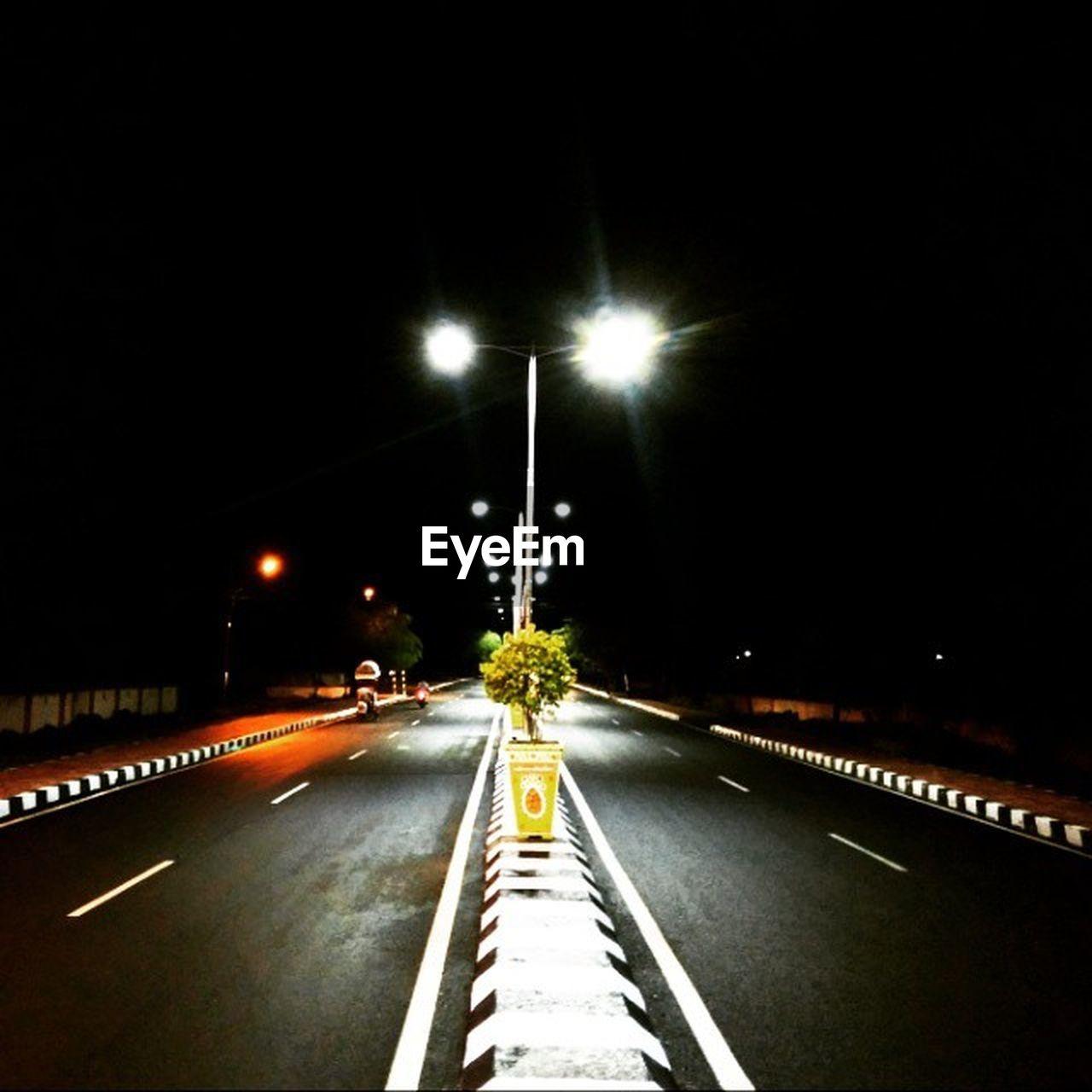 illuminated, night, street light, road, transportation, light trail, the way forward, no people, outdoors, high street, sky