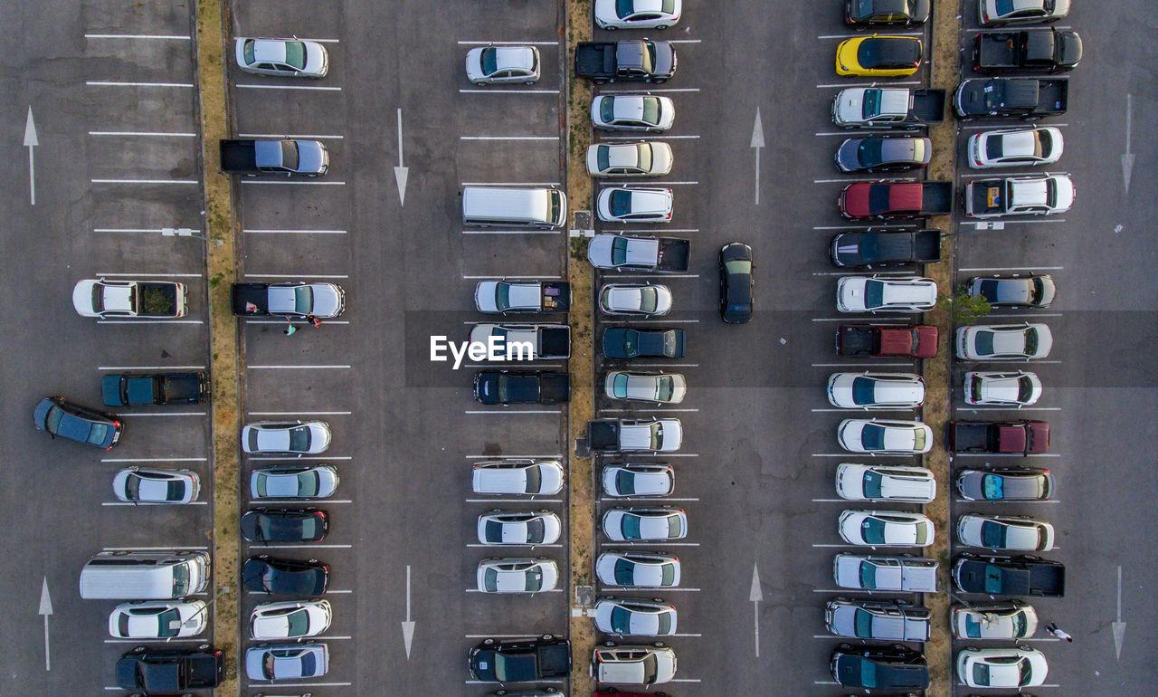 Aerial shot of parking lot