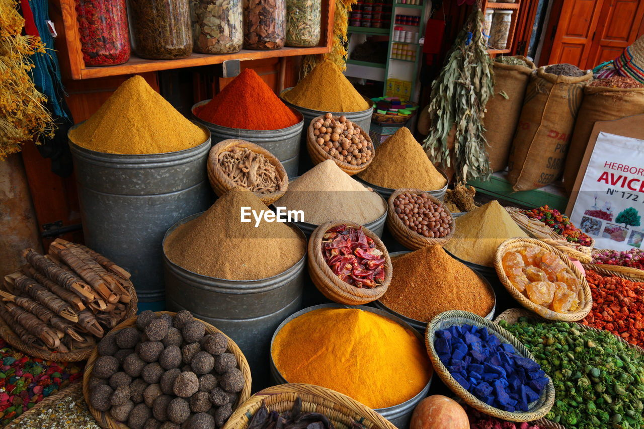 choice, variation, food and drink, spice, for sale, food, market, ingredient, large group of objects, retail, market stall, still life, multi colored, freshness, arrangement, no people, container, business, day, sack, retail display, sale, consumerism