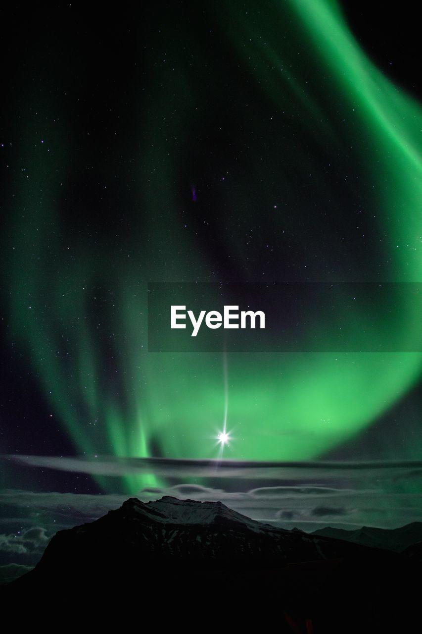 night, beauty in nature, space, astronomy, scenics - nature, star - space, sky, green color, tranquility, aurora polaris, tranquil scene, idyllic, no people, natural phenomenon, long exposure, illuminated, non-urban scene, nature, water, galaxy