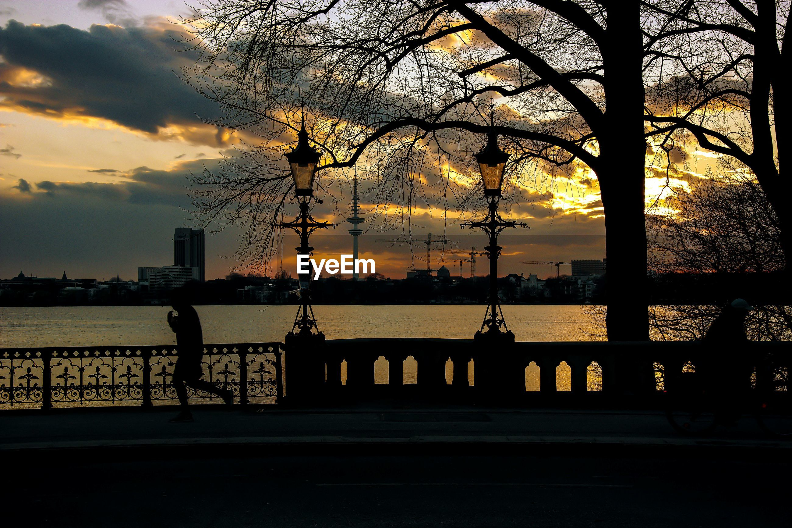 Scenic shot of silhouette trees by river at sunset