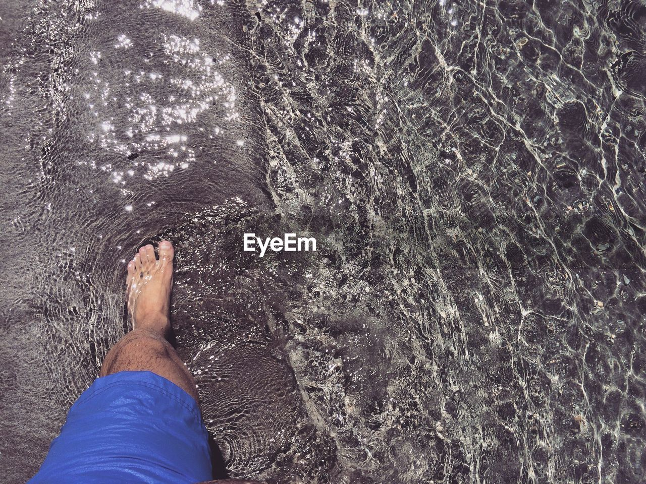 human body part, one person, real people, body part, human leg, personal perspective, barefoot, low section, water, lifestyles, leisure activity, day, high angle view, nature, sea, men, outdoors, unrecognizable person, human foot, swimming pool, human limb