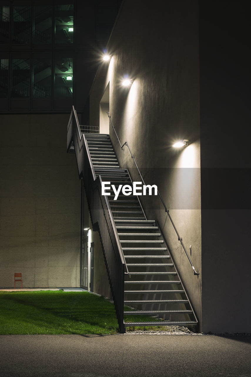 STAIRCASE OF ILLUMINATED BUILDING