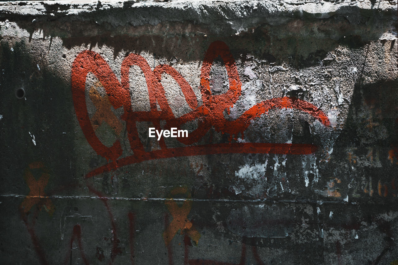 communication, text, graffiti, western script, day, no people, architecture, wall - building feature, outdoors, red, creativity, writing, orange color, art and craft, message, wall, capital letter, sign, weathered, nature