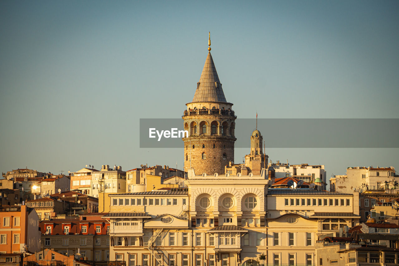 Galata tower in istanbul at sunset