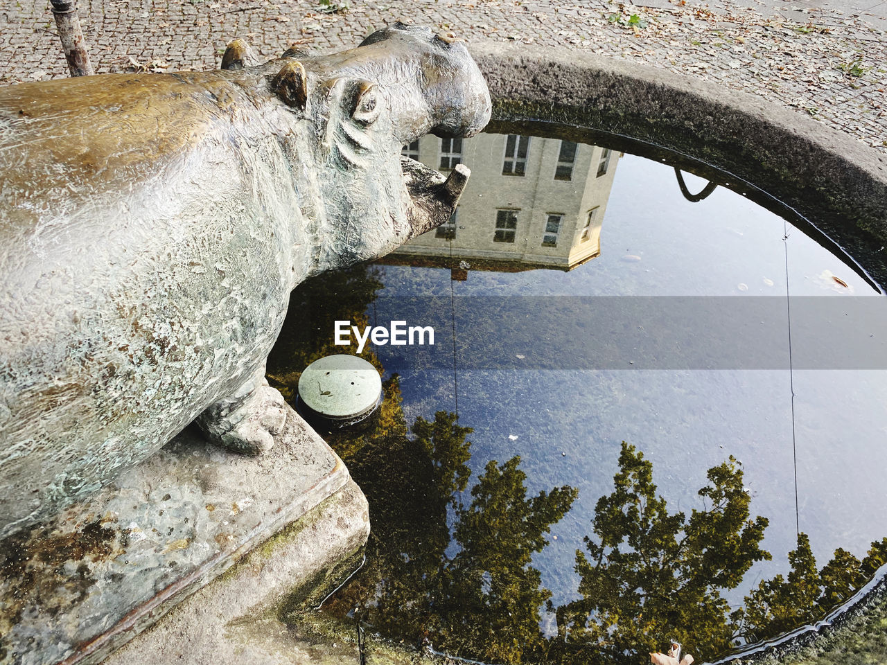 HIGH ANGLE VIEW OF HORSE STATUE BY WATER