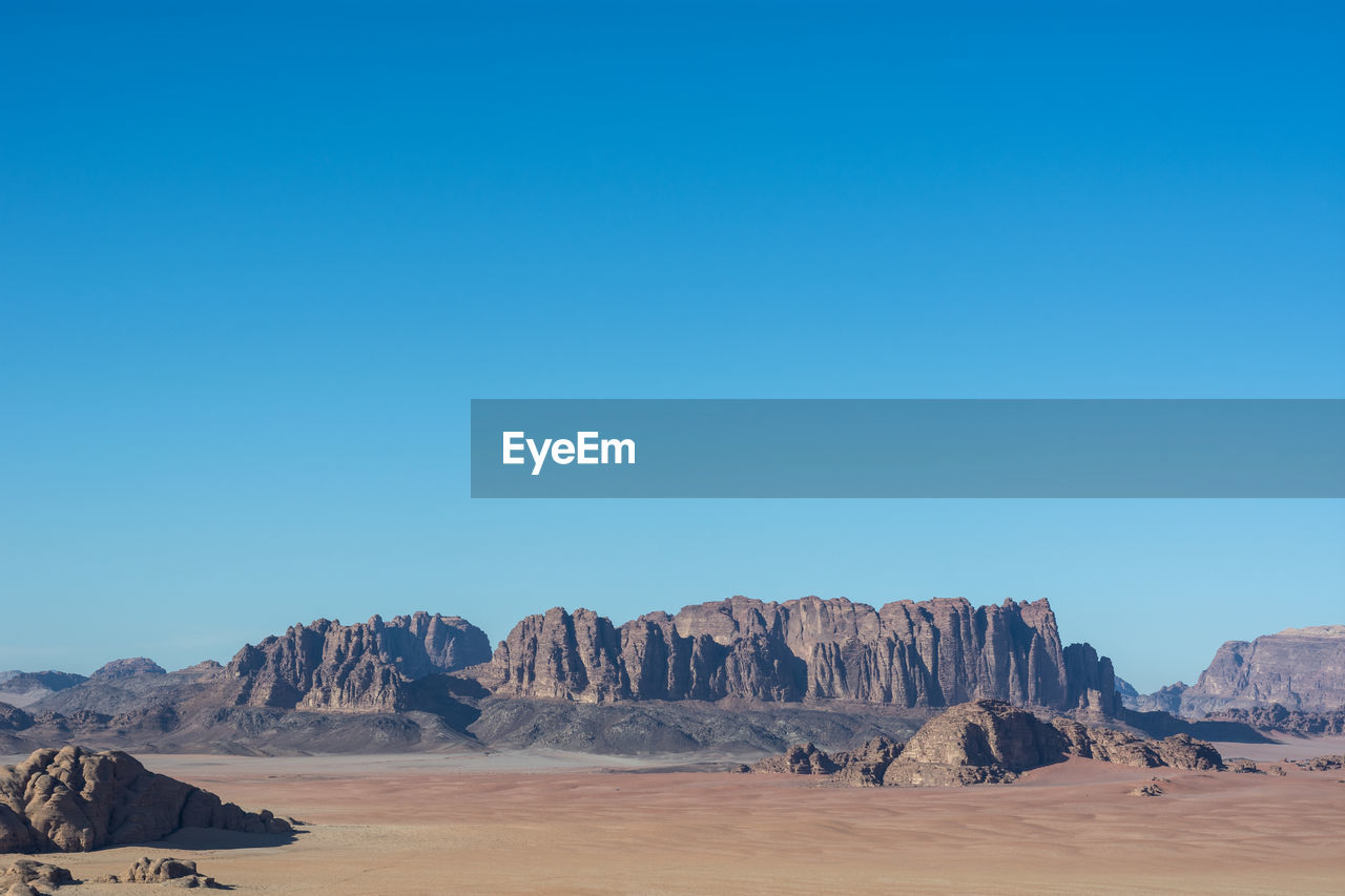 Panoramic view of landscape against clear blue sky