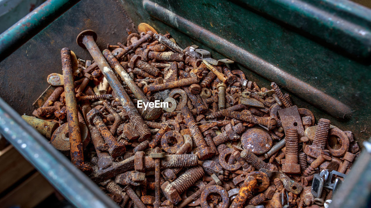 Close-Up Of Rusty Bolts And Nuts
