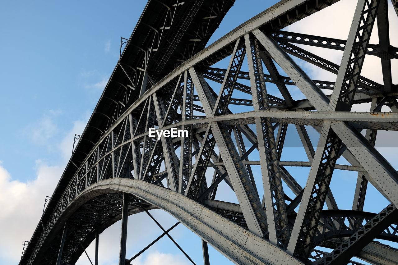 Low angle view of metallic bridge against sky