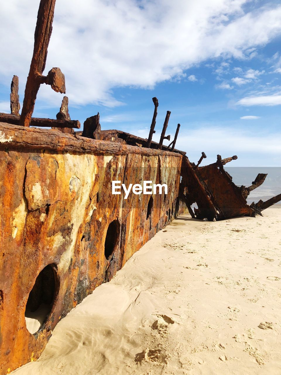 abandoned, rusty, sky, obsolete, damaged, deterioration, cloud - sky, decline, run-down, metal, shipwreck, ship, day, nature, old, bad condition, no people, transportation, land, mode of transportation, outdoors, ruined