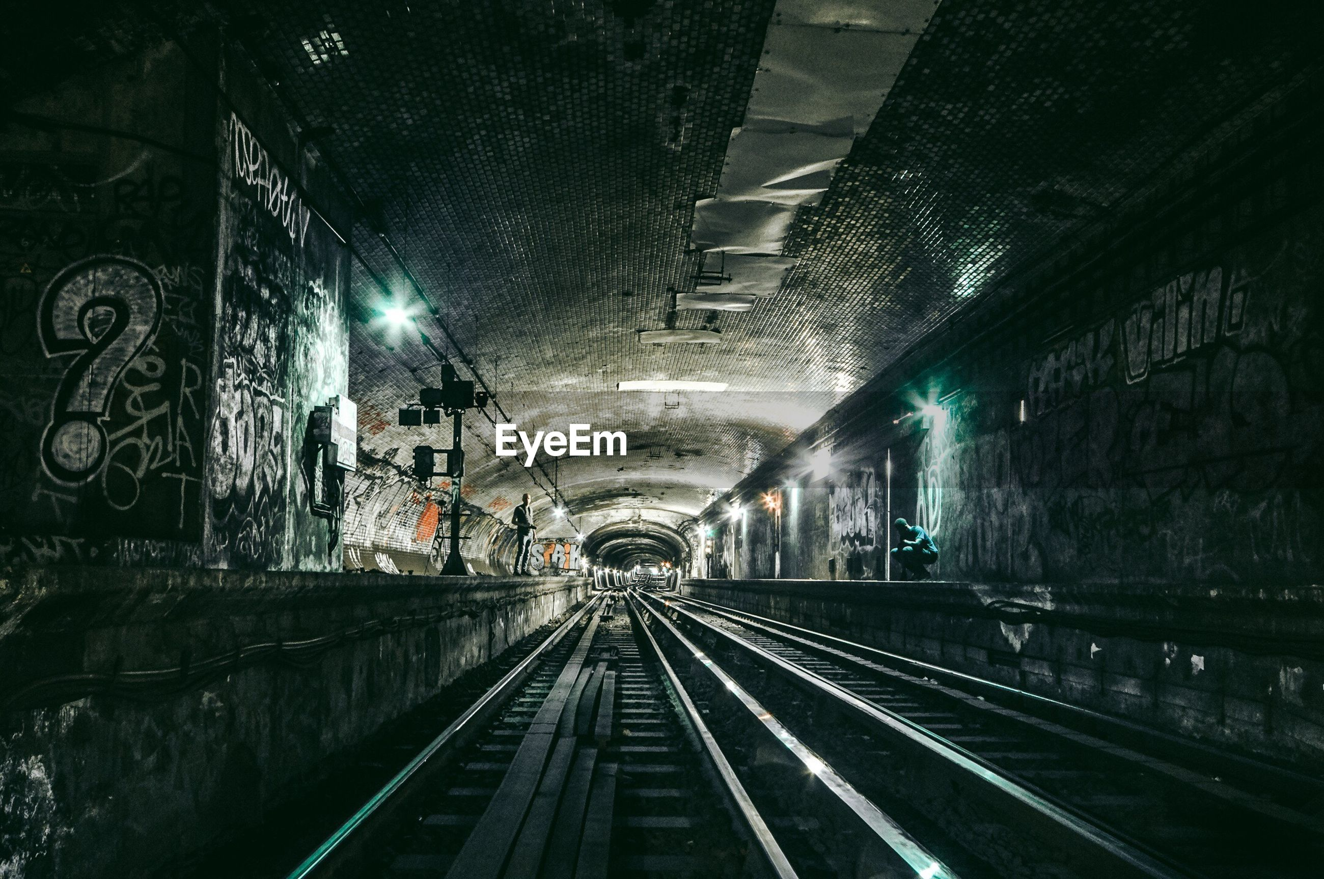 transportation, illuminated, railroad track, tunnel, rail transportation, built structure, the way forward, night, indoors, no people, architecture