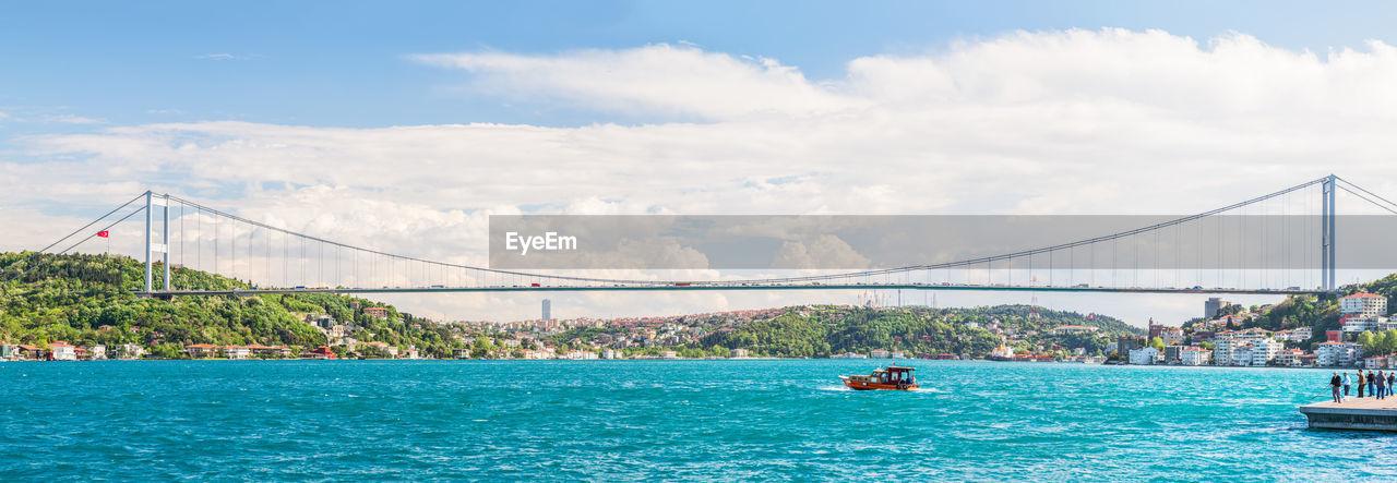 Bosphorus bridge over strait against sky