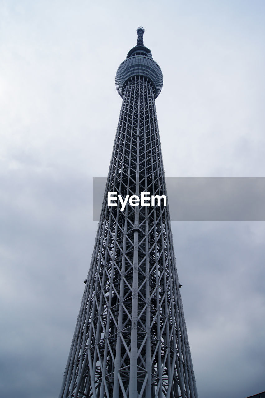 sky, tall - high, tower, built structure, architecture, low angle view, cloud - sky, travel destinations, tourism, city, travel, nature, building exterior, no people, the past, building, history, metal, outdoors, office building exterior, skyscraper, global communications, spire