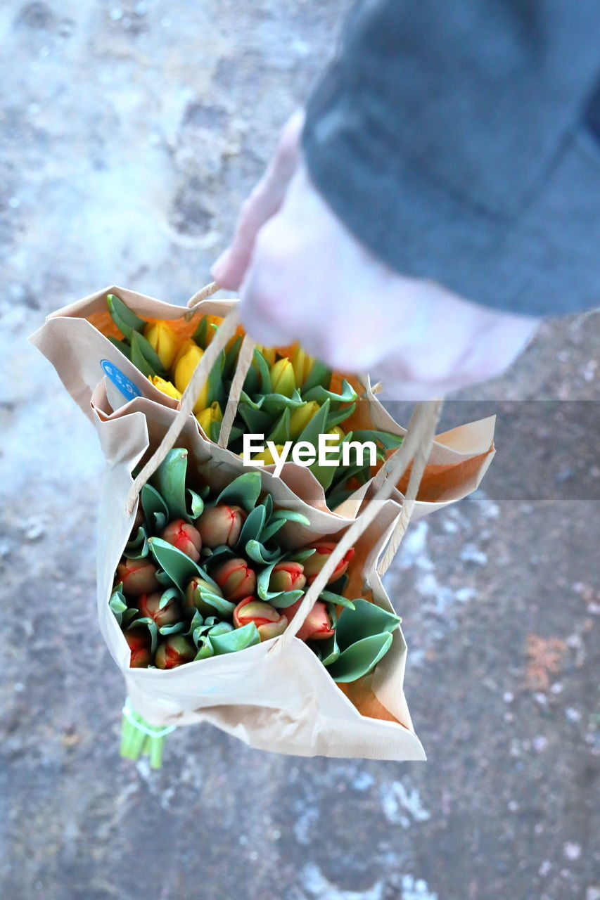 one person, food, food and drink, freshness, real people, hand, day, human hand, holding, healthy eating, human body part, high angle view, vegetable, wellbeing, outdoors, focus on foreground, fruit, unrecognizable person, green color, plastic bag