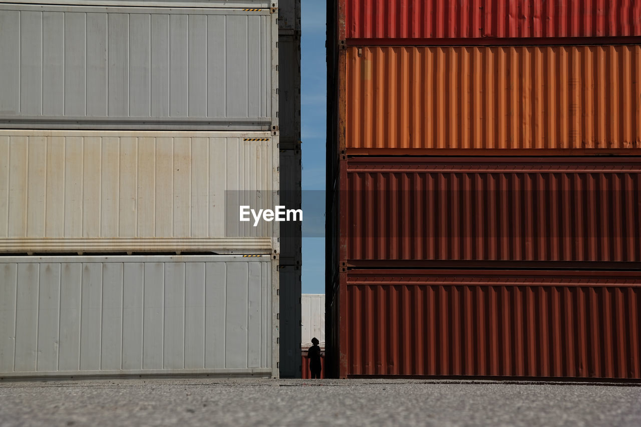 Stacked Cargo Container At Commercial Dock