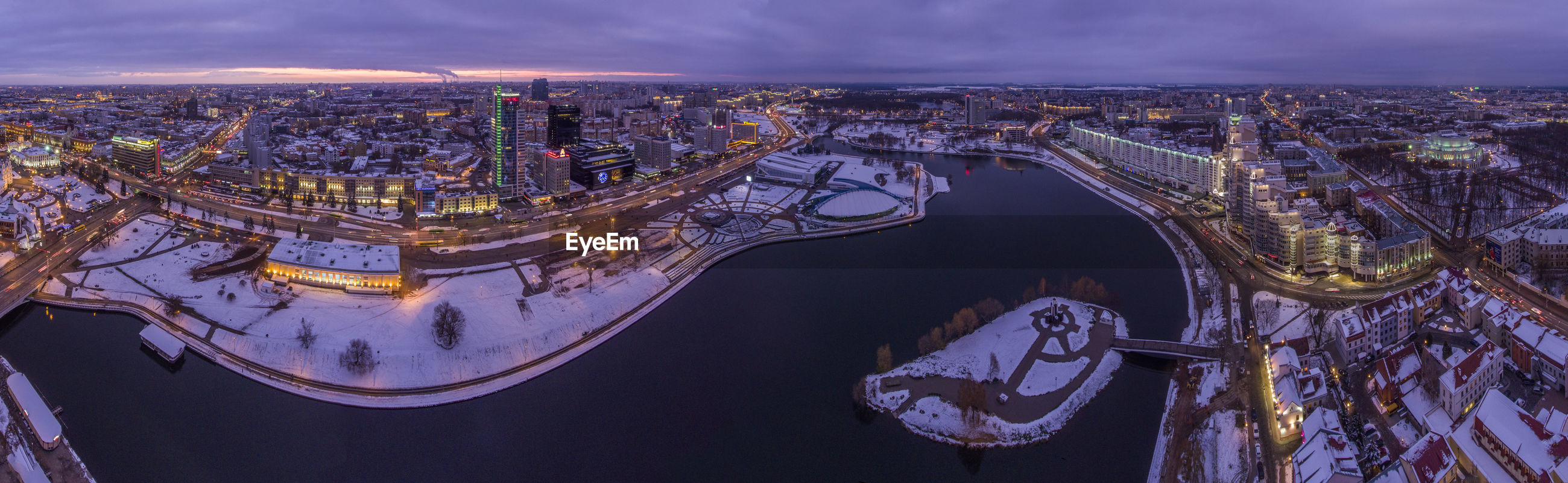 Aerial view of city buildings during winter