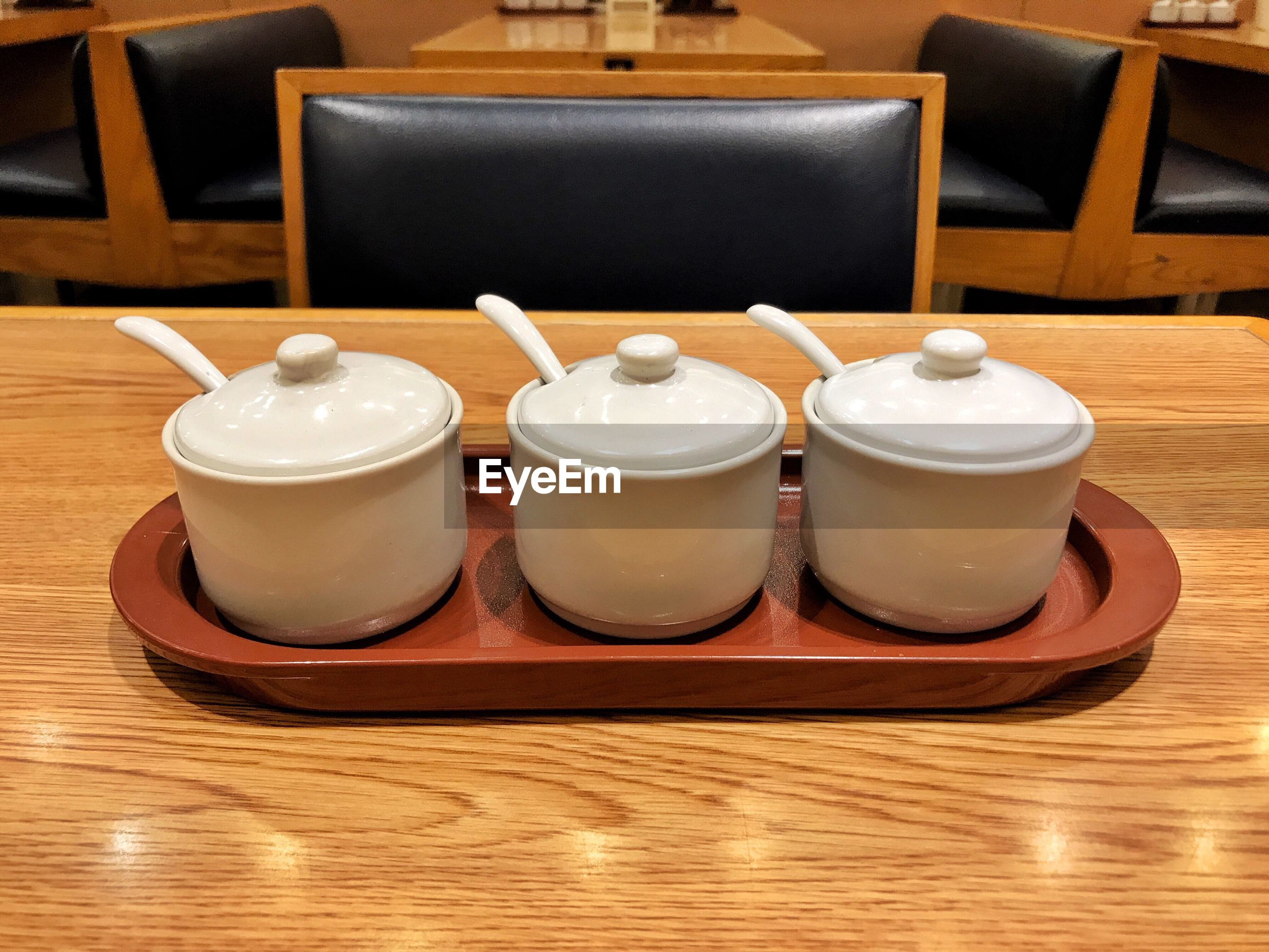 Containers on table in restaurant