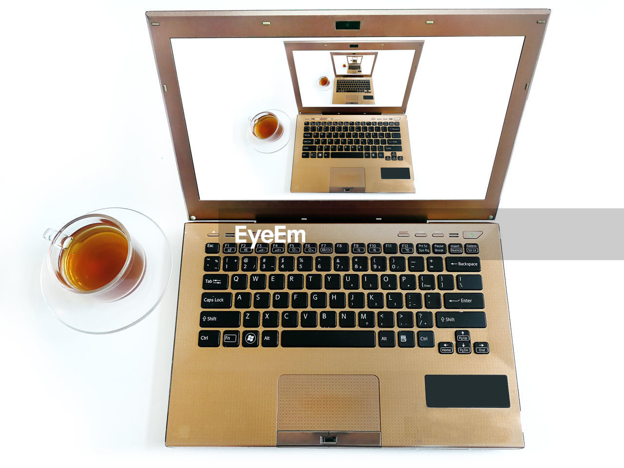 technology, communication, computer, laptop, indoors, wireless technology, white background, connection, keyboard, computer keyboard, no people, food and drink, computer equipment, still life, table, cup, high angle view, drink, studio shot, cut out, blank, computer key