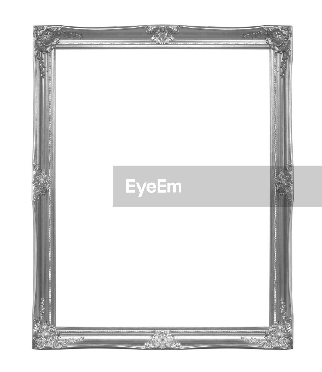 white background, cut out, picture frame, frame, design, copy space, blank, empty, shape, single object, no people, studio shot, retro styled, rectangle, art and craft, pattern, metal, old, close-up, antique, silver colored, ornate, at the edge of
