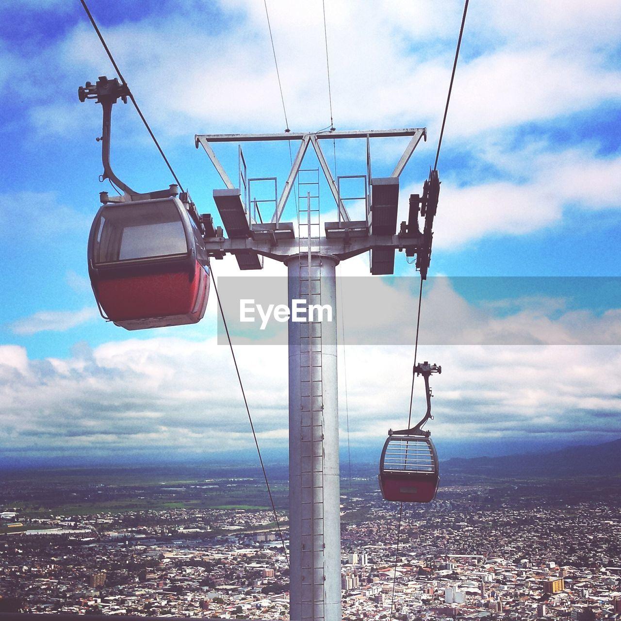 Ski lift over landscape against sky