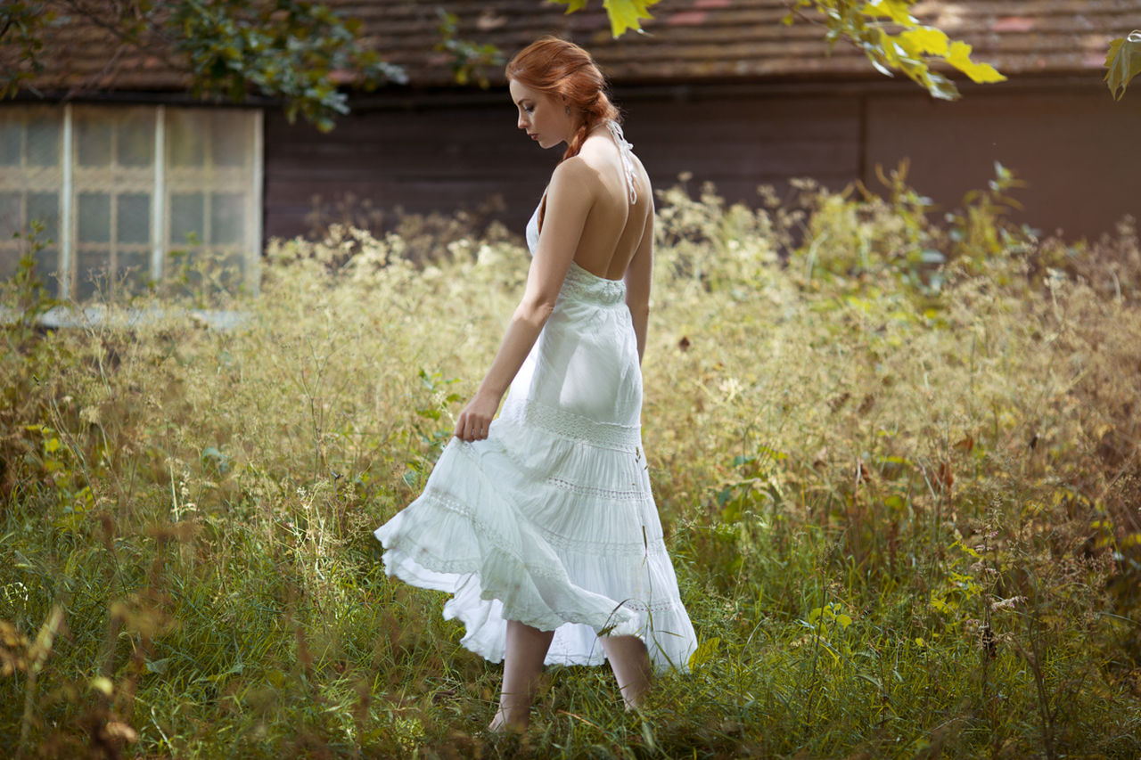 one person, grass, standing, real people, young adult, full length, outdoors, field, wedding, young women, happiness, day, bride, nature, wedding dress, flower, people