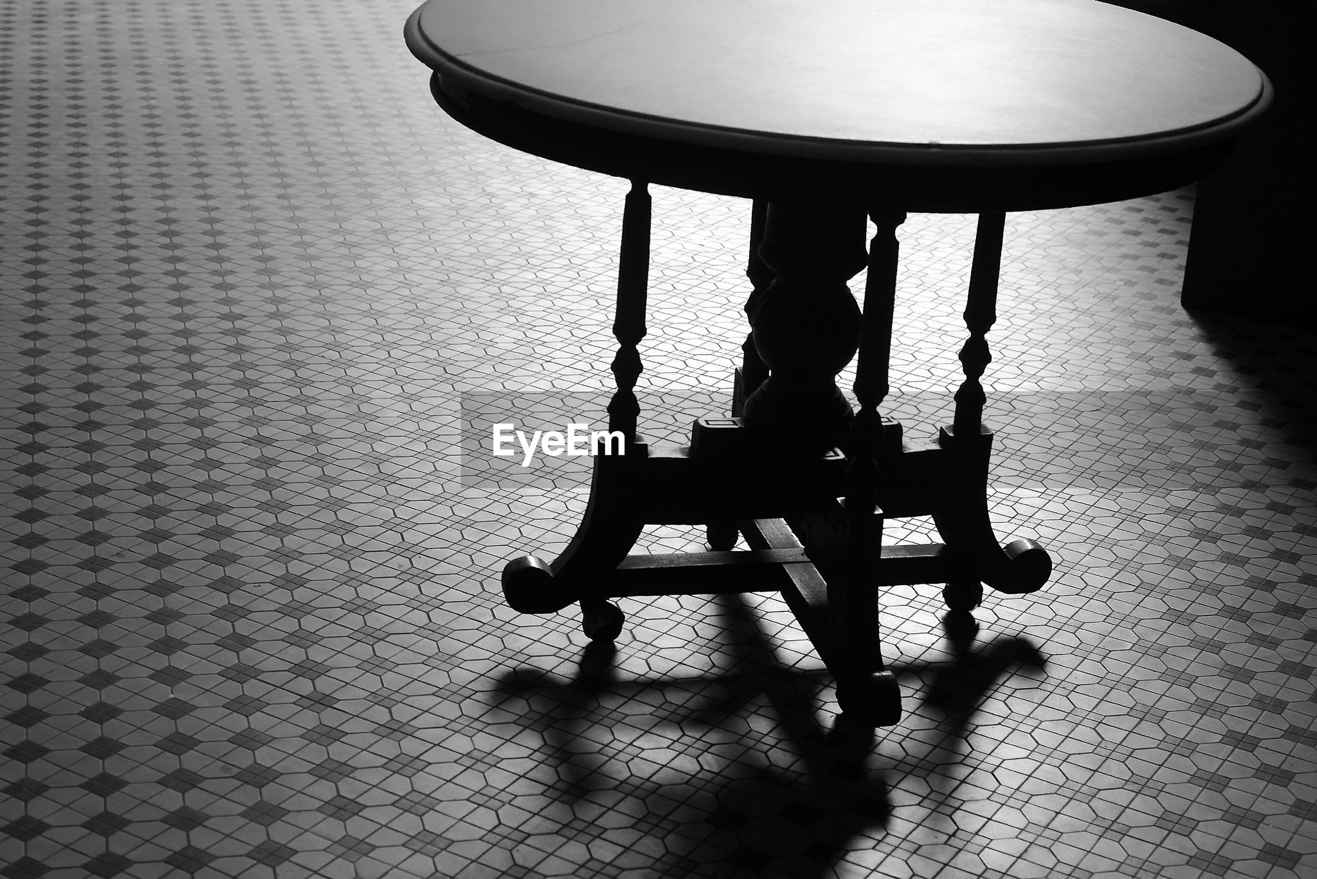 Table on tiled floor at home