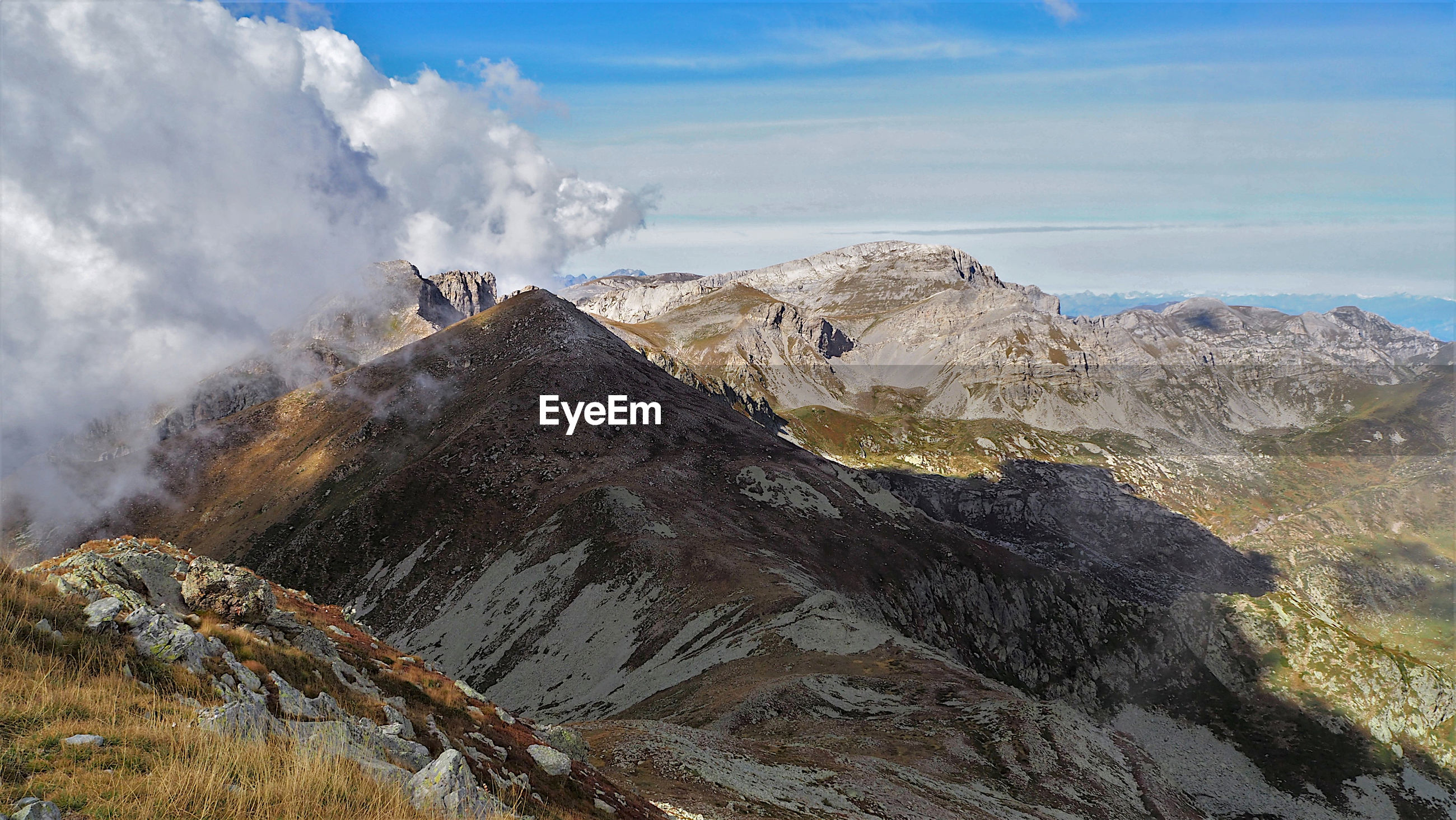 Panoramic view of mountain range against sky, ligurian alps, italy