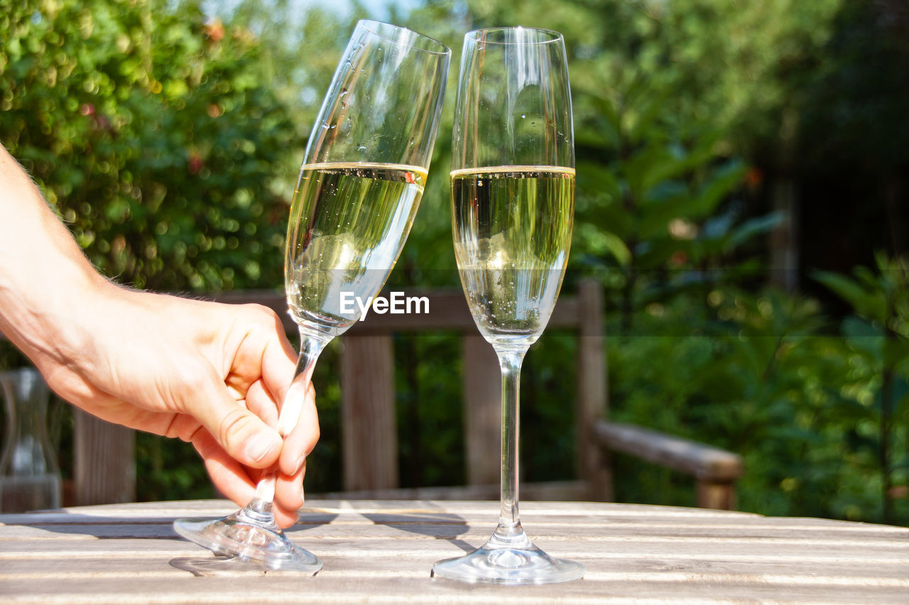 Cropped Hand Holding Champagne Flute