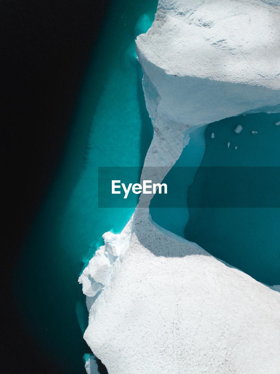 High angle view of glacier
