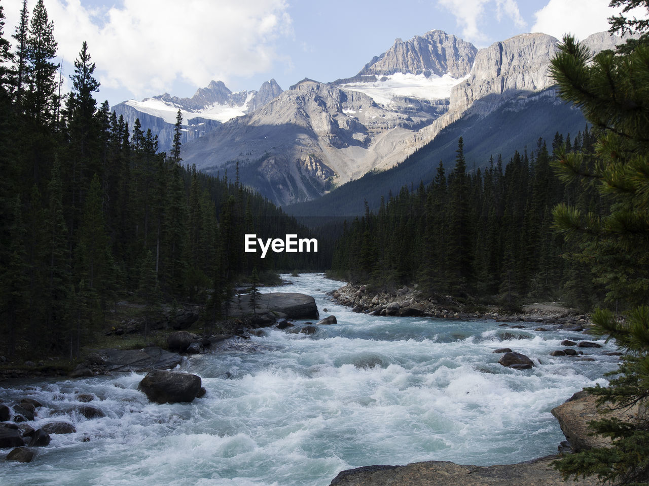 Scenic View Of River Flowing Through Rocks And Mountains
