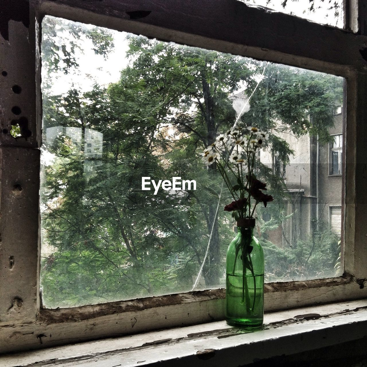 Flower Vase On Old Window Sill