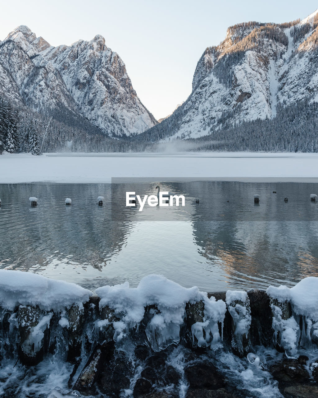 mountain, cold temperature, winter, snow, water, scenics - nature, beauty in nature, lake, frozen, mountain range, tranquil scene, nature, tranquility, non-urban scene, no people, ice, idyllic, day, snowcapped mountain, outdoors, flowing water, mountain peak