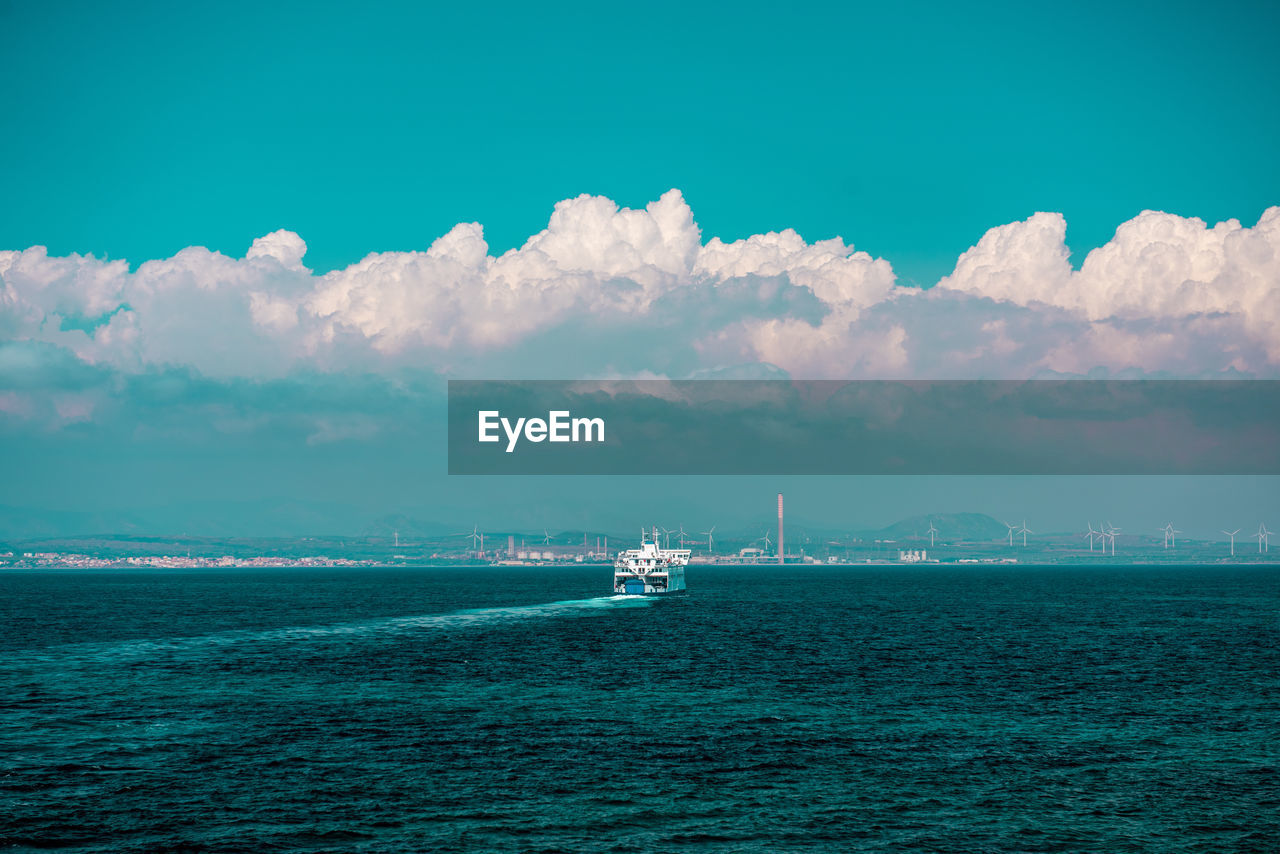 water, sea, nautical vessel, sky, waterfront, transportation, mode of transportation, scenics - nature, cloud - sky, beauty in nature, nature, ship, day, no people, sailing, outdoors, industry, tranquil scene, travel, sailboat, passenger craft