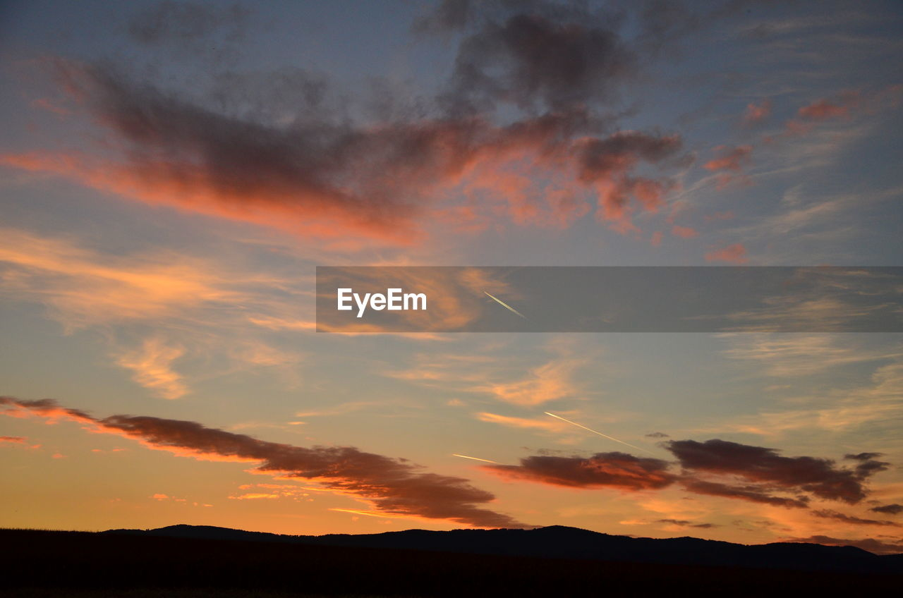 sunset, silhouette, nature, scenics, tranquility, beauty in nature, orange color, sky, tranquil scene, dramatic sky, idyllic, no people, cloud - sky, outdoors, day