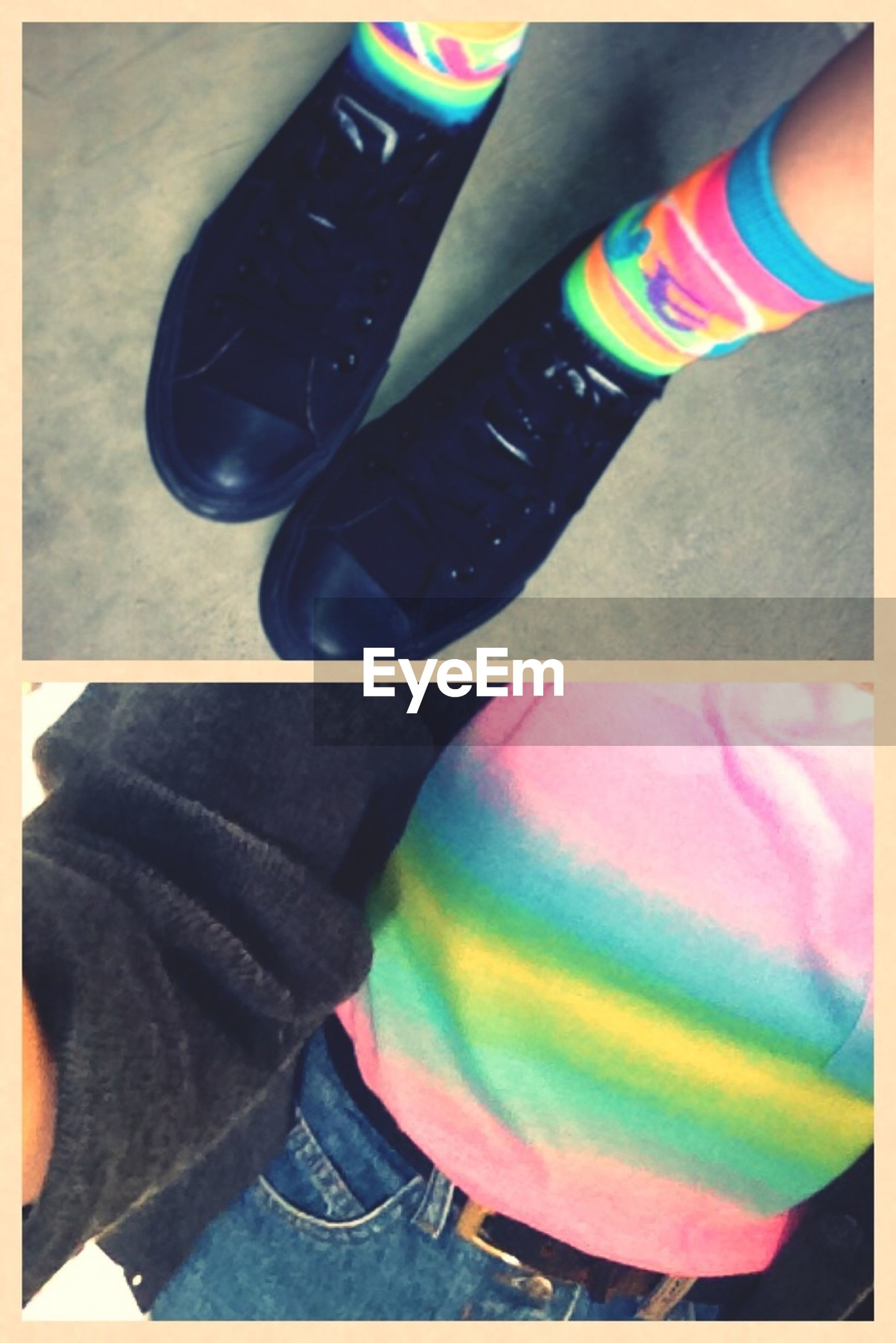 transfer print, auto post production filter, multi colored, high angle view, close-up, indoors, part of, low section, blue, colorful, lifestyles, red, person, leisure activity, unrecognizable person, sport, shoe