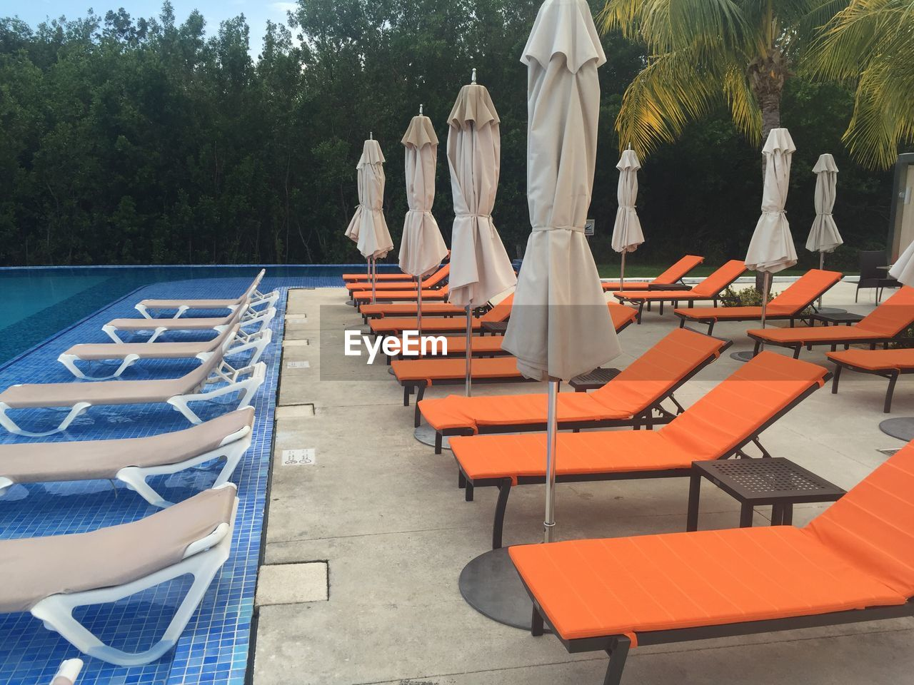 Lounge Chairs By Closed Parasols By Swimming Pool