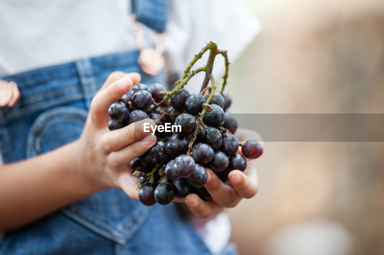 Midsection of woman holding grapes while standing outdoors